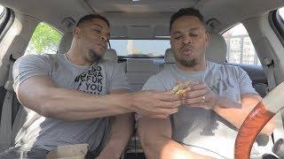Eating Mc Donalds Garlic White Cheddar Burger @hodgetwins