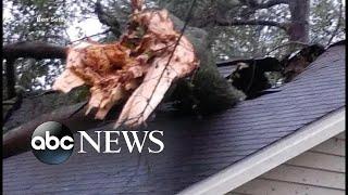 North Carolina resident describes tree falling onto house