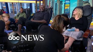 Shaquille O'Neal gets a pedicure with Michael Strahan and Sara Haines!