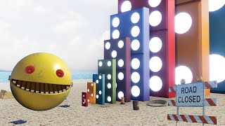 Real Life Pacman VS Big Domino Effect