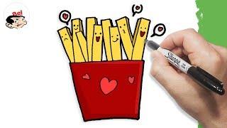 how to cartoon fries | تعليم الرسم للاطفال | كيف ترسم بطاطس مقلية ...
