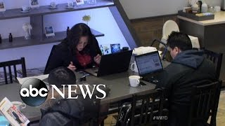 """Woman Makes Local Coffee Shop Her """"Office"""" 