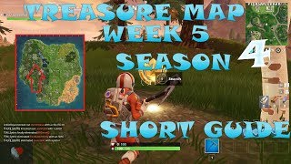 "Fortnite season 5 Week 4 treasure map location ""Gas Station, soccer pitch and stunt mountain"""