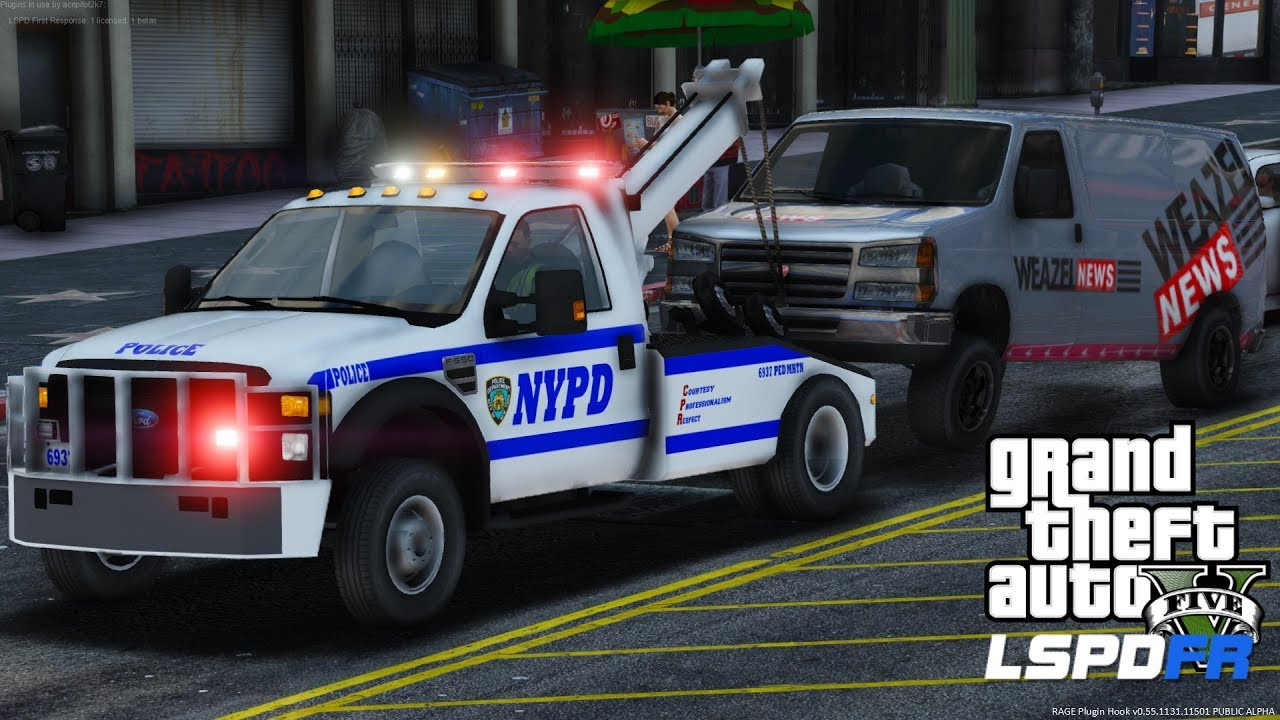 GTA 5 LSPDFR #496 | NYPD Tow Truck Out On The Prowl Looking