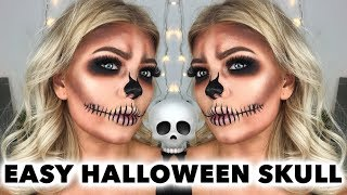 EASY WEARBLE GLAM HALLOWEEN SKULL MAKEUP TUTORIAL *SCREEN FLASHES* | AMY COOMBES