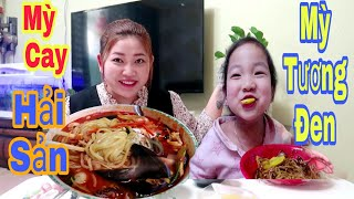 🇰🇷248 || CAY XÉ LƯỠI Với MỲ HẢI SẢN HÀN QUỐC, MỲ TƯƠNG ĐEN || Spicy Jjambbong&Jajangmyeon mukbang