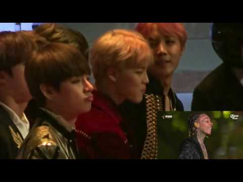 BTS  REACTION TO WIZ KHALIFA YW&F AND SEE YOU AGAIN MAMA 201