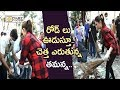 Tamannaah Sweeping Road and Cleaning Garbage