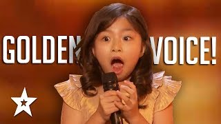 9 YEAR OLD Celine Tam GOLDEN BUZZER Audition On America's Got Talent 2017 | Got Talent Global