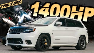 "1400HP Jeep Trackhawk - The World's FIRST TWIN TURBO TRACKHAWK! (""Big Hawk"" Breaks the MPH Record)"