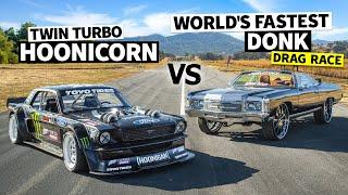 World's Fastest Donk (1,500hp) Vs Ken Block's 1,400hp AWD Ford Mustang // Hoonicorn Vs the World