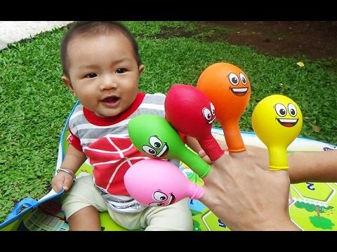 mainan anak finger family belajar warna dengan balon warna bersama vino learn colors finger