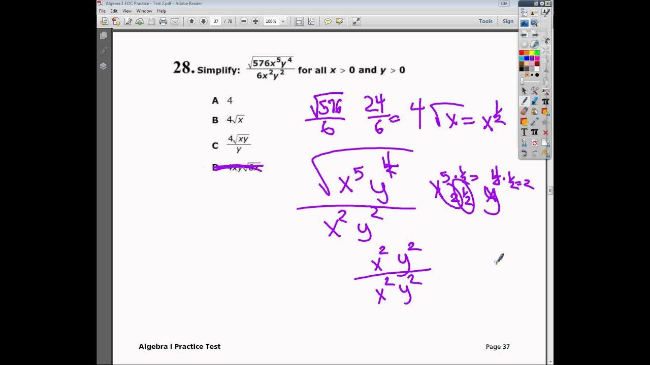 Question 28 - Practice Test 2 - Tennessee EOC Algebra 1 ...