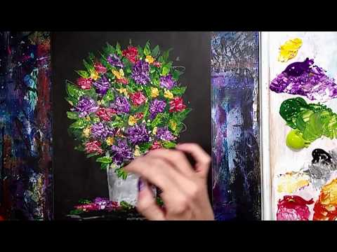 Flower Palette Knife Painting Spring Topiary Acrylic Painting Demonstration on Canvas Timelapse
