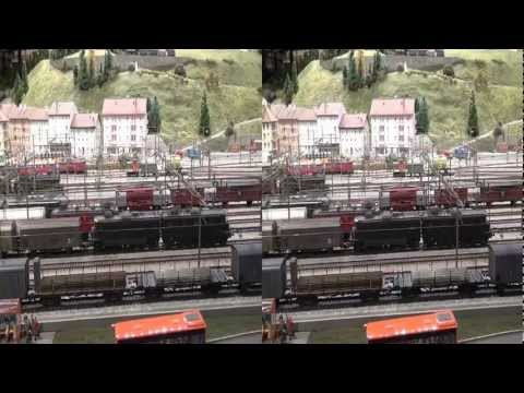 Sony HDR-TD10 Swiss Trains in H0 and in 3D (yt3d)
