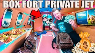 WORLDS Most Expensive Box Fort PRIVATE JET (24 Hour Challenge)