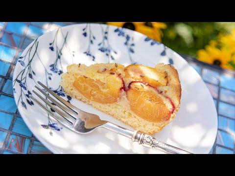 Можно с любыми фруктами! Летний ПИРОГ С ПЕРСИКАМИ и лавандой - очень вкусный и нежный   Peach Cake