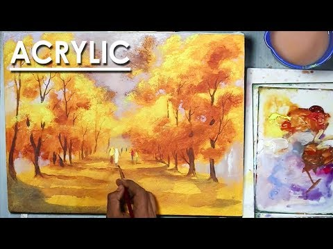 Acrylic Painting : Roadside Yellow Autumn Trees on canvas step by step