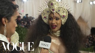 Cardi B on Her Kicking Baby and Pearl-Covered Dress | Met Gala 2018 With Liza Koshy | Vogue