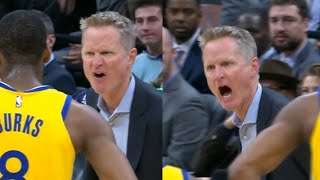"""Angry Steve Kerr yelling at the ref """"wake the f—k up!"""" then gets ejected"""