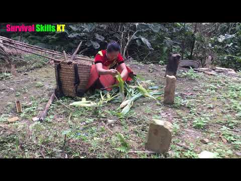 Survival skills: Primitive life ethnic girl grilling corn and meet forest people eating delicious