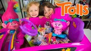 HUGE Trolls Movie Surprise Car Toy Surprise Eggs Girl Toys Slime Baff Dreamworks Kinder Playtime