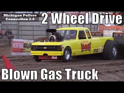 2 Wheel Drive Blown Gas Truck Class At WPA Truck Pulls In Charlotte Michigan 2018