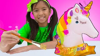 Wendy and Alex Pretend Play Paint Color Unicorn Toy for Kids