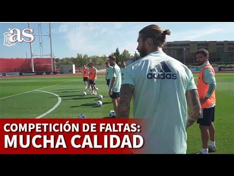 SELECCIÓN ESPAÑOLA | RAMOS, CEBALLOS, CANALES... competición de faltas | DIARIO AS