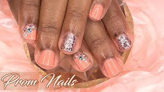 EASY Prom Nails | Coral Peach and Glitter Nails | LongHairPrettyNails