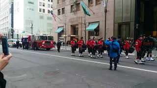 FDNY Emerald Society Leads Funeral Procession For FDNY LT. Davidson On 5th Ave