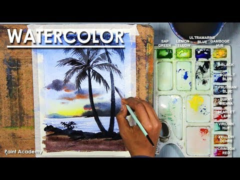 Watercolor Sunset Painting with palm trees step by step