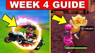 Fortnite WEEK 4 CHALLENGES GUIDE! – BATTLE STAR LOCATION & FLAMING HOOPS LOCATIONS!