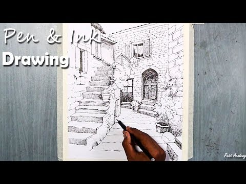 Pen & Ink Drawing | A House Landscape with its shading technique