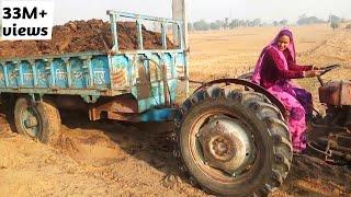 VILLAGE king of lady driver //drive massy tractor //कैसे निकला ट्रेक्टर को गढ़े से बाहर