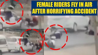 Female scooter riders fly in air after horrible accident, ..