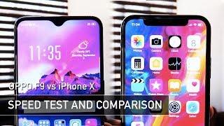 OPPO F9 vs iPhone X SPEED TEST | Zeibiz