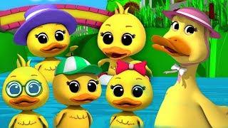 cinq petit canards | Rimes pour enfants | canard chanson | Five Little Ducks | Kids ABC TV Française