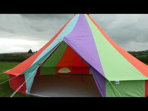 Bell Tent Regenbogenfarbenes Rundzelt mit Reißverschluss-Bodenplane