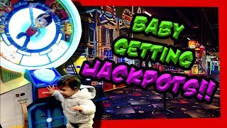 1 YEAR OLD BABY WINNING ARCADE JACKPOTS at CHUCK E CHEESE's Arcade! Birthday Party Wins! TeamCC