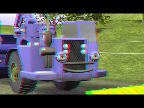 "Diggedy Dozer in ""Treetop Troubles"" HD Anaglyph 3D - Bulldozer Truck Construction Cartoon Kids"