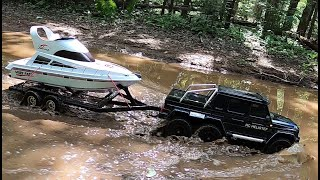 Rc  scale boat launch,rc truck TRX-6 Mercedes-Benz G-63 AMG.