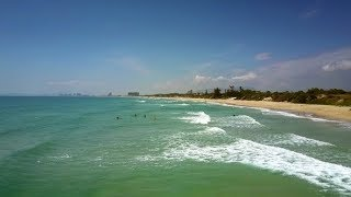 Motion Along Turquoise Ocean Surf Line Past Sand Beach | Stock Footage - Videohive