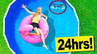 24 Hours in a Swimming Pool in my Backyard! (Hidden Secret Code Found in Water)