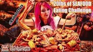 20lbs of Seafood Boil Eating Challenge | RainaisCrazy | Kickin K'asian