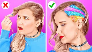 COOL HAIR TRICKS AND HACKS      DIYY Colorful Hair Hacks And Tips By 123 GO LIke!