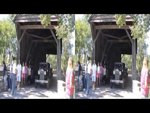 Vintage Cars Driving Through Covered Bridge - Old Car Festival - CarsInDepth.com 3D Video