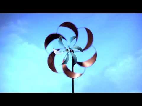 Two Tone Pinwheel Metal Garden Spinner Wind Spinners Whirligigs