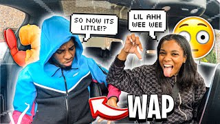 "TELLING MY BOYFRIEND HE HAS A ""WAP"" TO SEE HOW HE REACTS.."