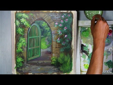 Beautiful Garden Gate Painting in Acrylic step by step | Episode-2